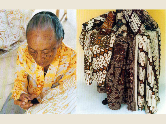 One of Batik-making process (left) and some  typical Batik designs made in Yogyakarta (right) .Source: Chamamah Soeratno, et.al. (ads.), 2002. Kraton Jogja: The history and cultural heritage